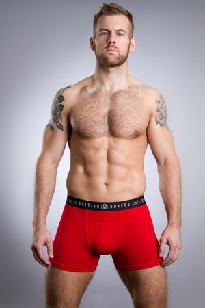 British Boxers Fire Engine Red Stretch Trunk